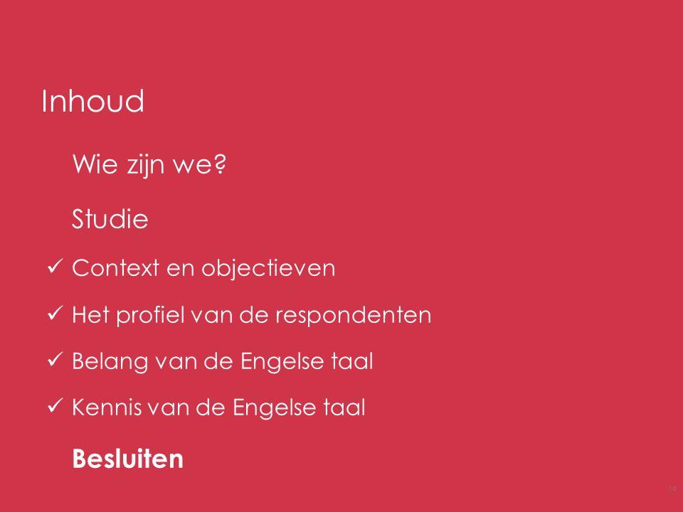 Inhoud Wie zijn we? Studie Context en objectieven Het profiel van de respondenten Belang van de Engelse taal Kennis van de Engelse taal Besluiten 19