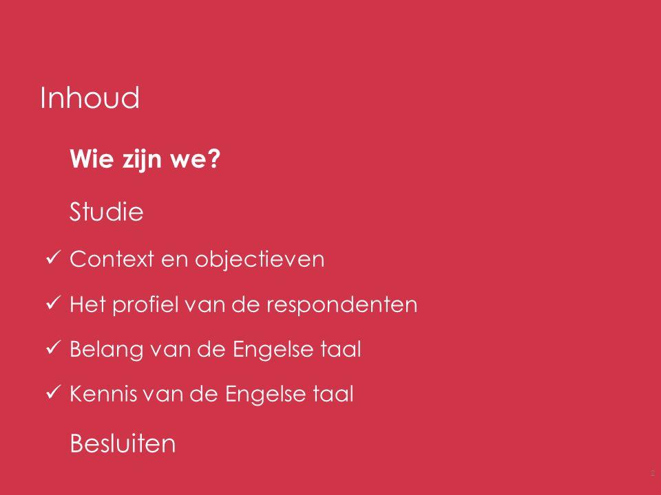 Inhoud Wie zijn we? Studie Context en objectieven Het profiel van de respondenten Belang van de Engelse taal Kennis van de Engelse taal Besluiten 2