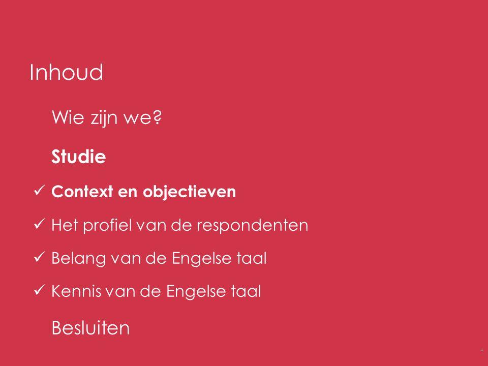 Inhoud Wie zijn we? Studie Context en objectieven Het profiel van de respondenten Belang van de Engelse taal Kennis van de Engelse taal Besluiten 4