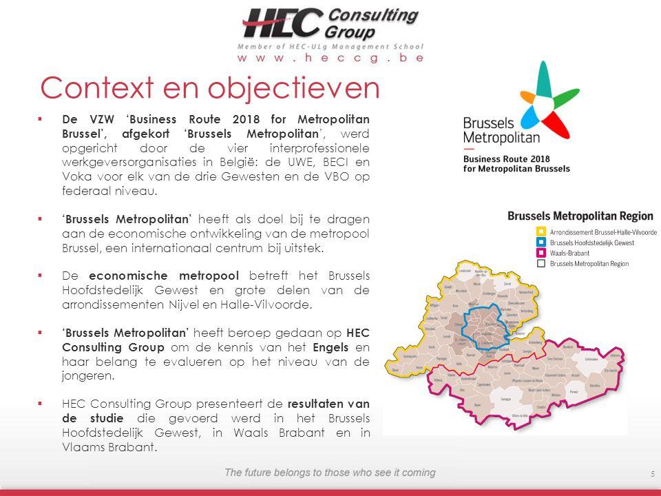 Context en objectieven De VZW Business Route 2018 for Metropolitan Brussel, afgekort Brussels Metropolitan, werd opgericht door de vier interprofessio