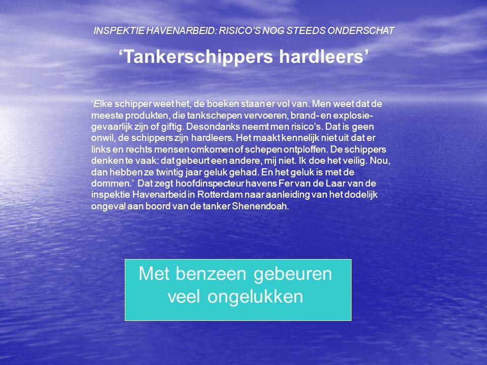 INSPEKTIE HAVENARBEID: RISICOS NOG STEEDS ONDERSCHAT Tankerschippers hardleers Elke schipper weet het, de boeken staan er vol van. Men weet dat de mee