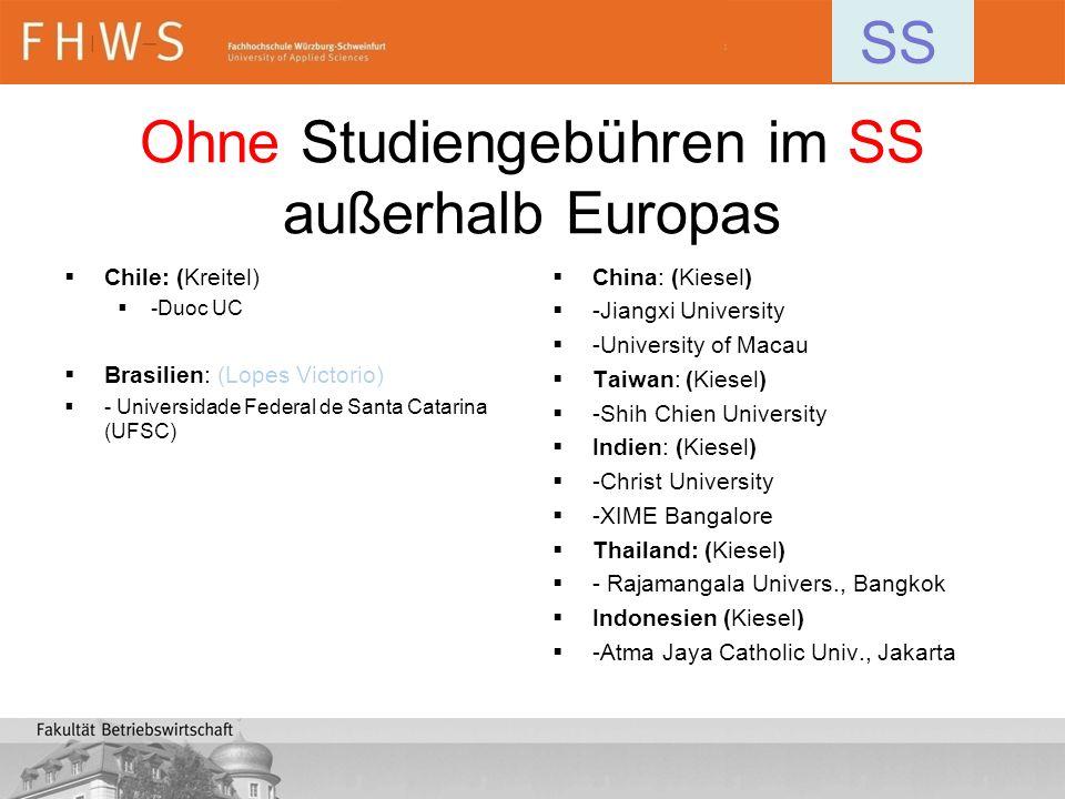 Ohne Studiengebühren im SS außerhalb Europas Chile: (Kreitel) -Duoc UC Brasilien: (Lopes Victorio) - Universidade Federal de Santa Catarina (UFSC) Chi
