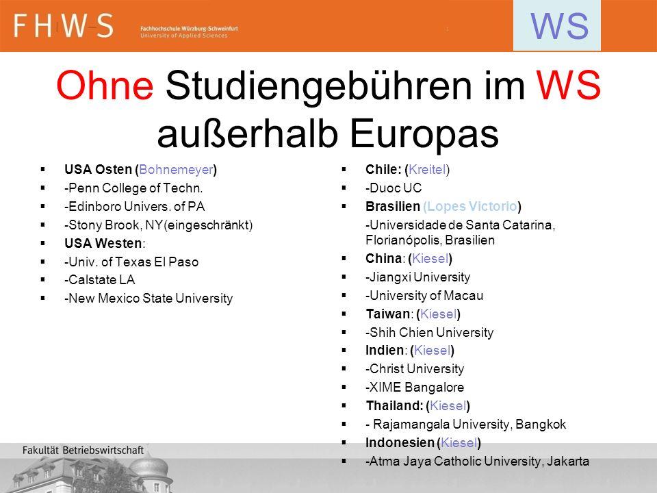 Ohne Studiengebühren im WS außerhalb Europas USA Osten (Bohnemeyer) -Penn College of Techn. -Edinboro Univers. of PA -Stony Brook, NY(eingeschränkt) U