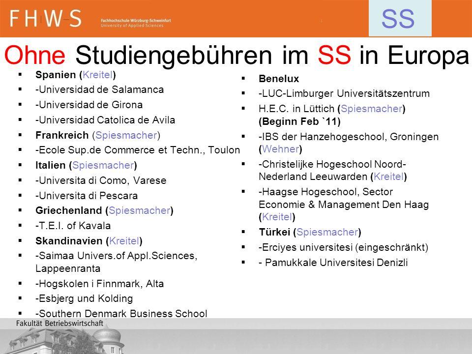 Spanien (Kreitel) -Universidad de Salamanca -Universidad de Girona -Universidad Catolica de Avila Frankreich (Spiesmacher) -Ecole Sup.de Commerce et T