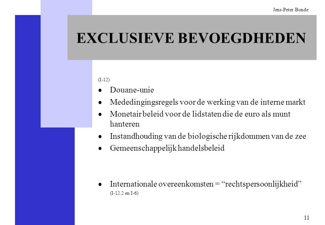 11 Jens-Peter Bonde EXCLUSIEVE BEVOEGDHEDEN (I-12) Douane-unie Mededingingsregels voor de werking van de interne markt Monetair beleid voor de lidstat