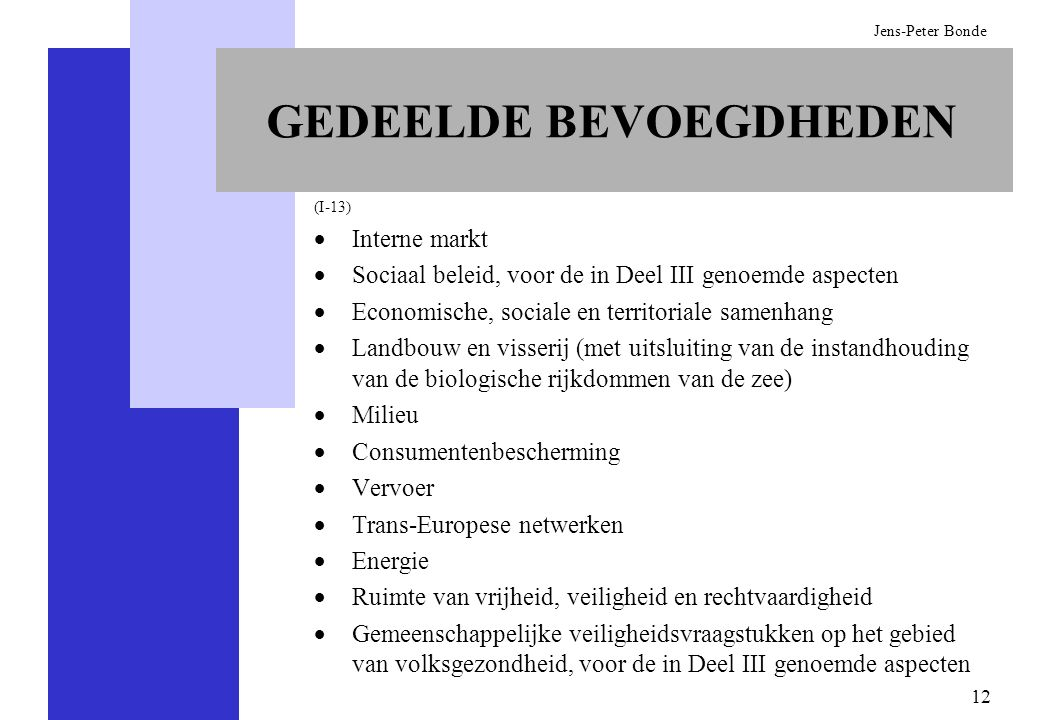 12 Jens-Peter Bonde GEDEELDE BEVOEGDHEDEN (I-13) Interne markt Sociaal beleid, voor de in Deel III genoemde aspecten Economische, sociale en territori
