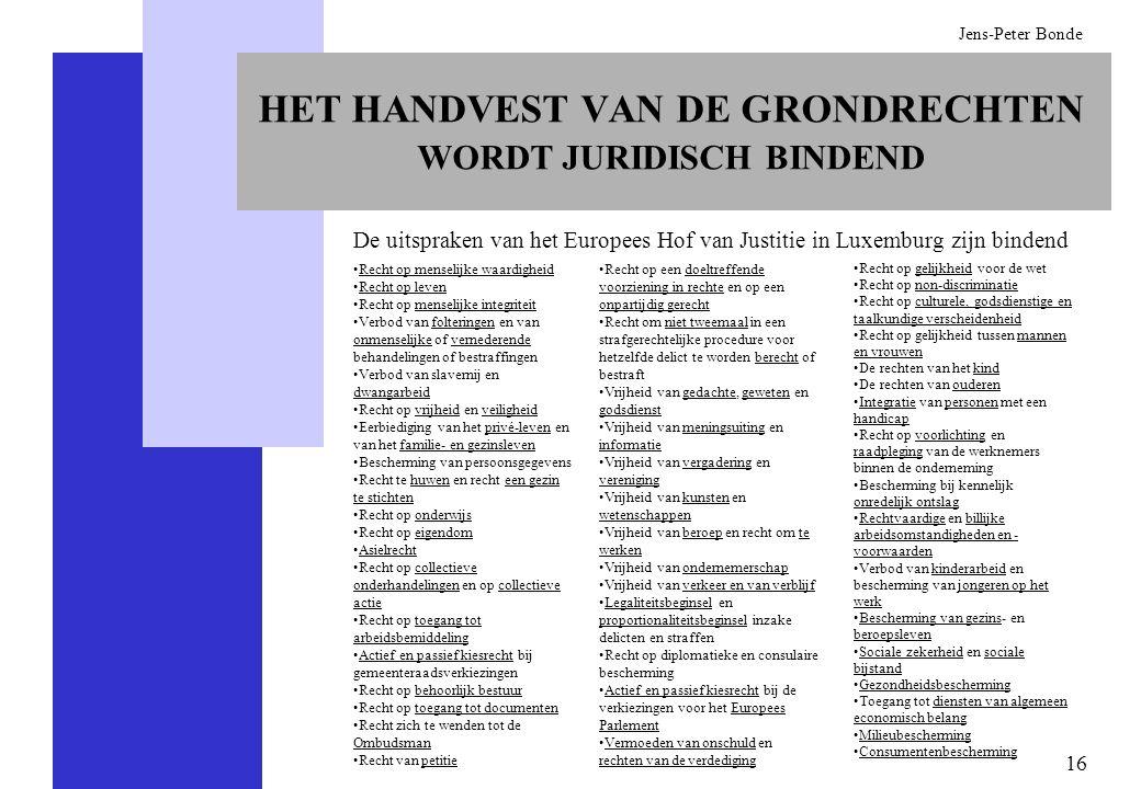 16 Jens-Peter Bonde HET HANDVEST VAN DE GRONDRECHTEN WORDT JURIDISCH BINDEND De uitspraken van het Europees Hof van Justitie in Luxemburg zijn bindend