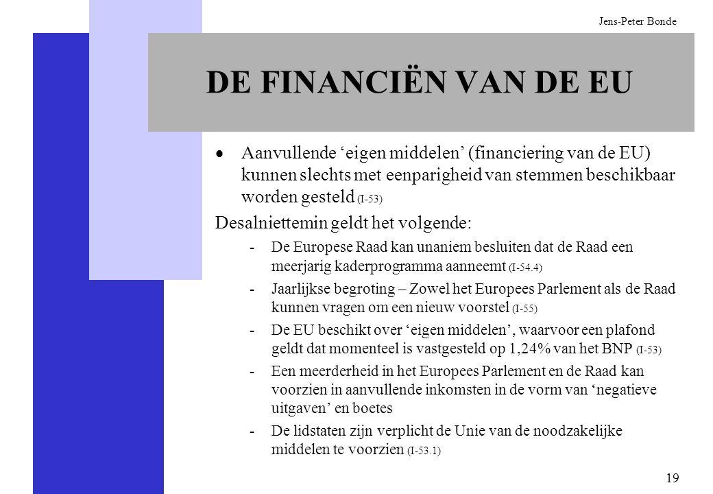 19 Jens-Peter Bonde DE FINANCIËN VAN DE EU Aanvullende eigen middelen (financiering van de EU) kunnen slechts met eenparigheid van stemmen beschikbaar