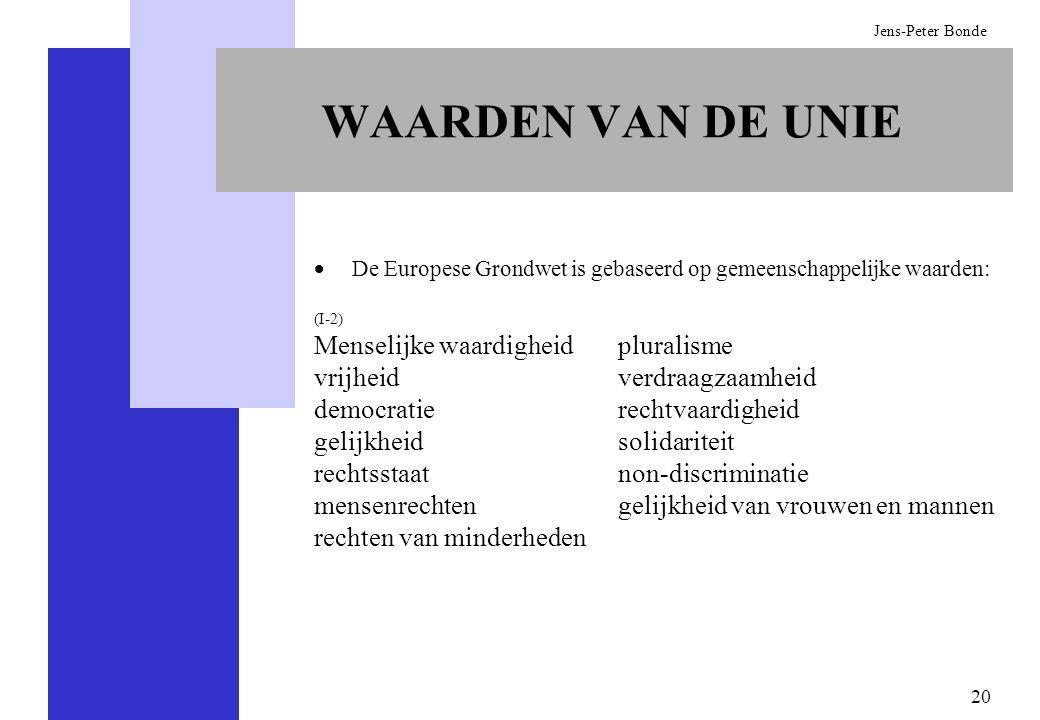 20 Jens-Peter Bonde WAARDEN VAN DE UNIE De Europese Grondwet is gebaseerd op gemeenschappelijke waarden: (I-2) Menselijke waardigheid vrijheid democra