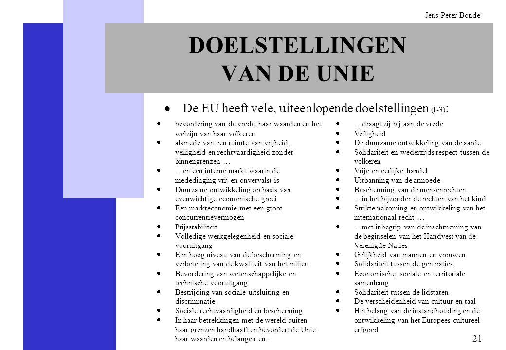 21 Jens-Peter Bonde DOELSTELLINGEN VAN DE UNIE bevordering van de vrede, haar waarden en het welzijn van haar volkeren alsmede van een ruimte van vrij