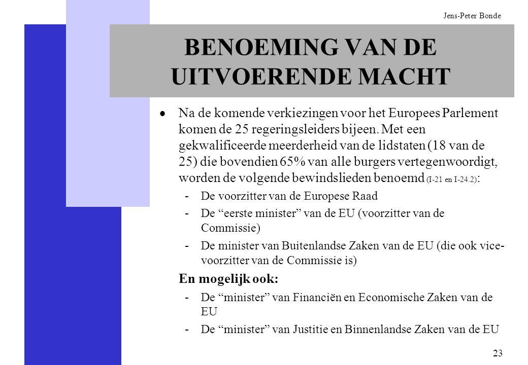 23 Jens-Peter Bonde BENOEMING VAN DE UITVOERENDE MACHT Na de komende verkiezingen voor het Europees Parlement komen de 25 regeringsleiders bijeen. Met