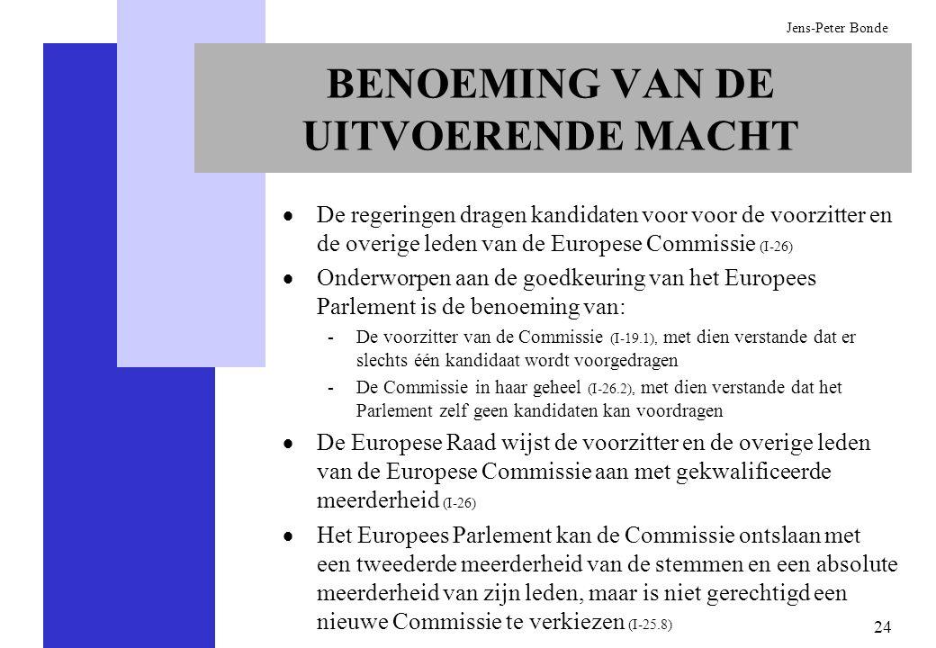 24 Jens-Peter Bonde De regeringen dragen kandidaten voor voor de voorzitter en de overige leden van de Europese Commissie (I-26) Onderworpen aan de go