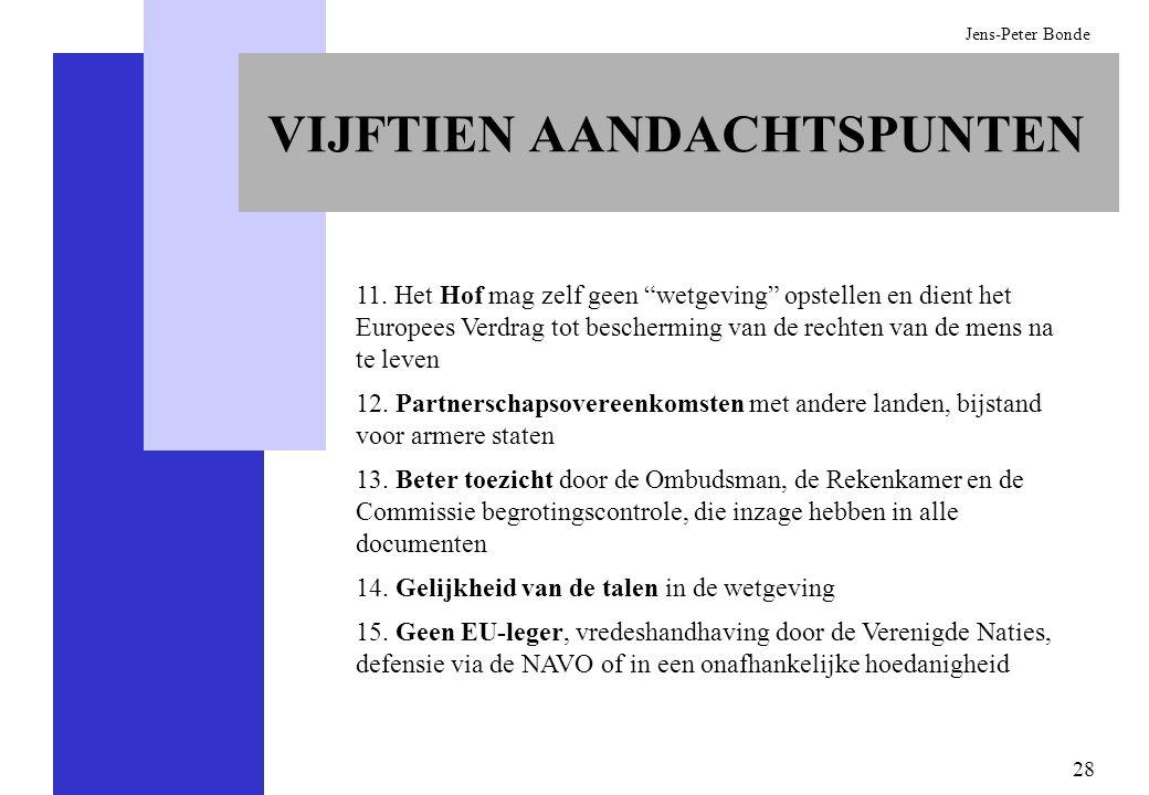 28 Jens-Peter Bonde 11. Het Hof mag zelf geen wetgeving opstellen en dient het Europees Verdrag tot bescherming van de rechten van de mens na te leven