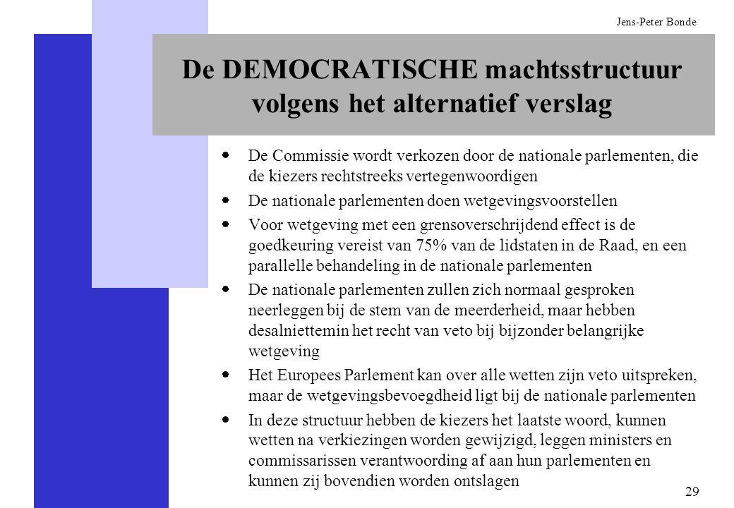 29 Jens-Peter Bonde De DEMOCRATISCHE machtsstructuur volgens het alternatief verslag De Commissie wordt verkozen door de nationale parlementen, die de