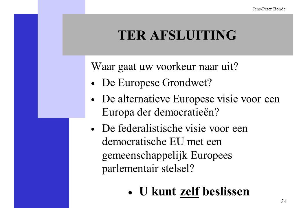 34 Jens-Peter Bonde TER AFSLUITING Waar gaat uw voorkeur naar uit? De Europese Grondwet? De alternatieve Europese visie voor een Europa der democratie