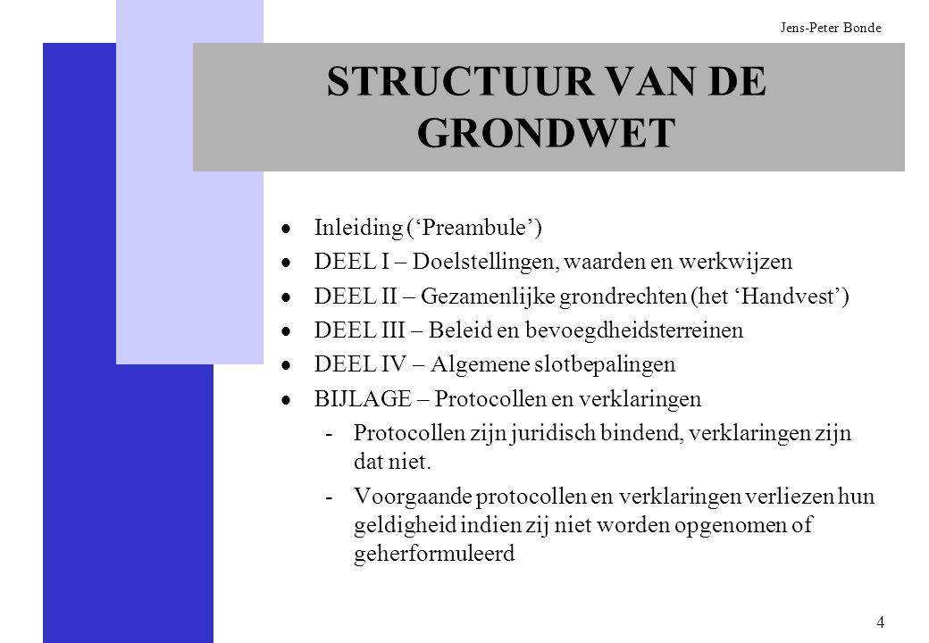 4 Jens-Peter Bonde STRUCTUUR VAN DE GRONDWET Inleiding (Preambule) DEEL I – Doelstellingen, waarden en werkwijzen DEEL II – Gezamenlijke grondrechten