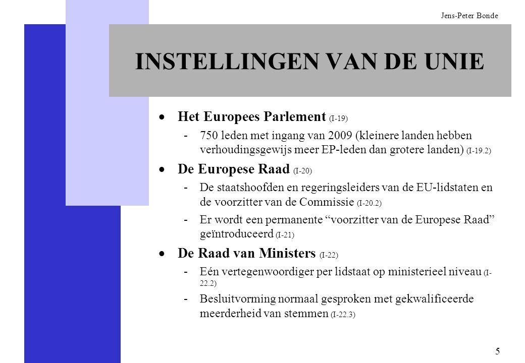 5 Jens-Peter Bonde INSTELLINGEN VAN DE UNIE Het Europees Parlement (I-19) -750 leden met ingang van 2009 (kleinere landen hebben verhoudingsgewijs mee