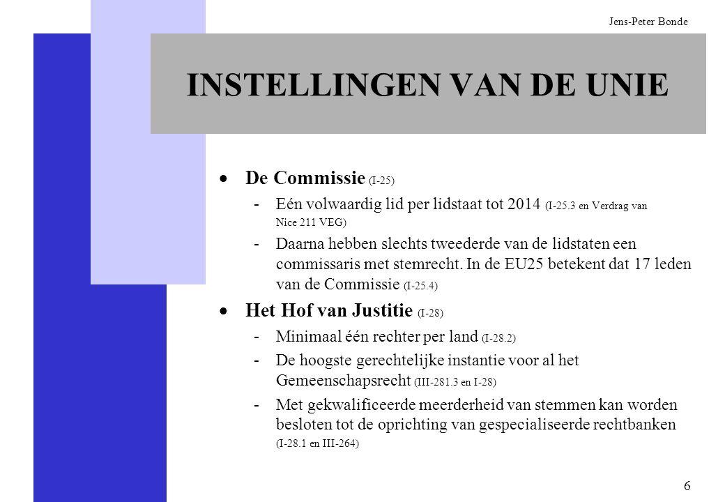 7 Jens-Peter Bonde DE GEWONE WETGEVINGSPROCEDURE De Commissie heeft als enige instelling het recht tot het indienen van wetgevingsvoorstellen (I-33 en III-302) De Raad van Ministers en het Europees Parlement zijn gerechtigd tot het indienen van verzoeken om wetgeving, maar niet tot het indienen van wetgevingsvoorstellen (I-33 and III-302) Een nieuwe wet kan alleen worden aangenomen indien de Raad en het Europees Parlement er overeenstemming over hebben bereikt Wetgeving kan worden aangenomen, gewijzigd of verworpen met een absolute meerderheid van stemmen in het Parlement (I-33 en III-302) Wetgeving kan worden aangenomen, gewijzigd of verworpen met een dubbele meerderheid in de Raad van Ministers (I-24) De Raad kan een amendement dat door de Commissie is afgewezen slechts aannemen met eenparigheid van stemmen (III-302.9)