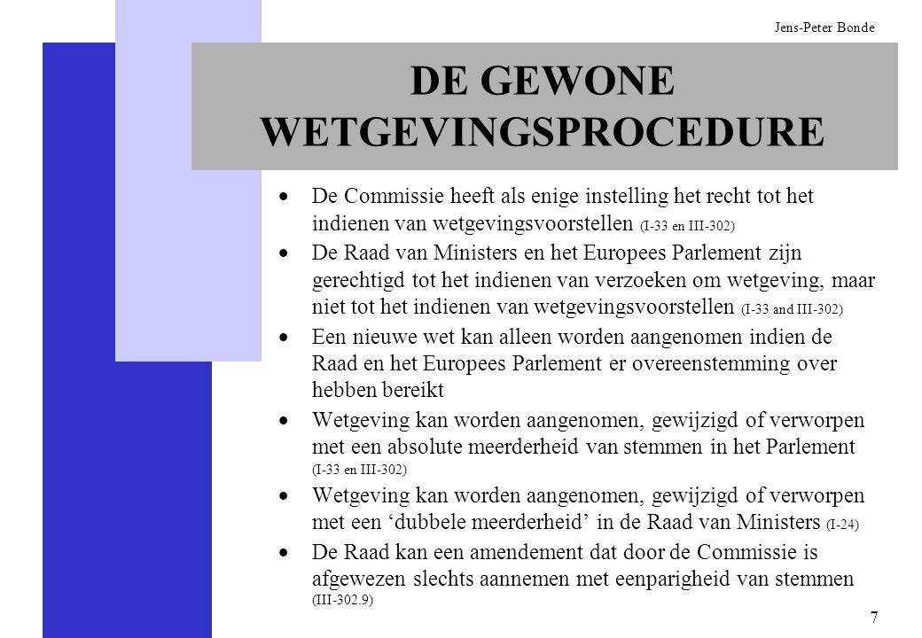 7 Jens-Peter Bonde DE GEWONE WETGEVINGSPROCEDURE De Commissie heeft als enige instelling het recht tot het indienen van wetgevingsvoorstellen (I-33 en