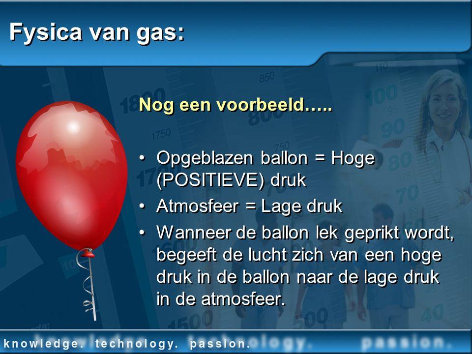 Fysica van gas: Nog een voorbeeld….. Opgeblazen ballon = Hoge (POSITIEVE) druk Atmosfeer = Lage druk Wanneer de ballon lek geprikt wordt, begeeft de l