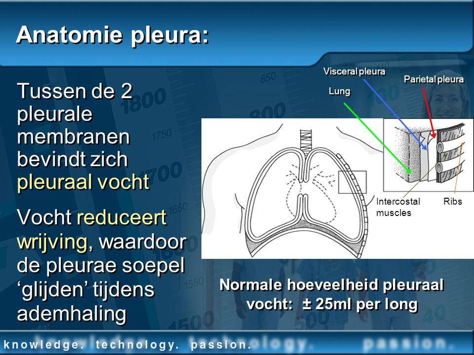 Tussen de 2 pleurale membranen bevindt zich pleuraal vocht Vocht reduceert wrijving, waardoor de pleurae soepel glijden tijdens ademhaling Tussen de 2