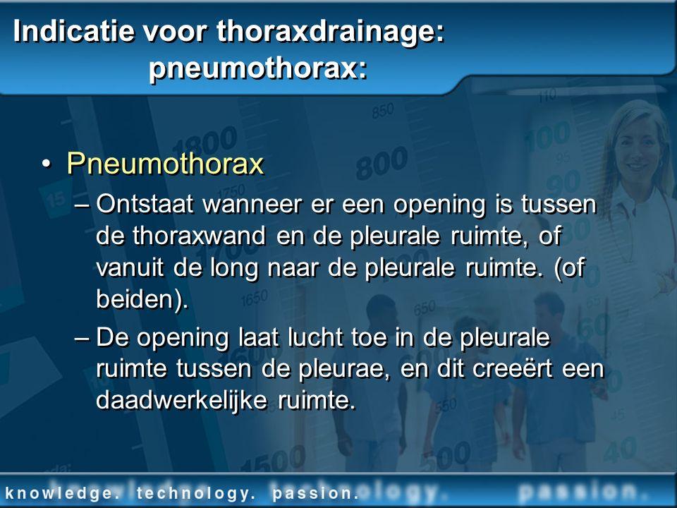 Indicatie voor thoraxdrainage: pneumothorax: Pneumothorax –Ontstaat wanneer er een opening is tussen de thoraxwand en de pleurale ruimte, of vanuit de