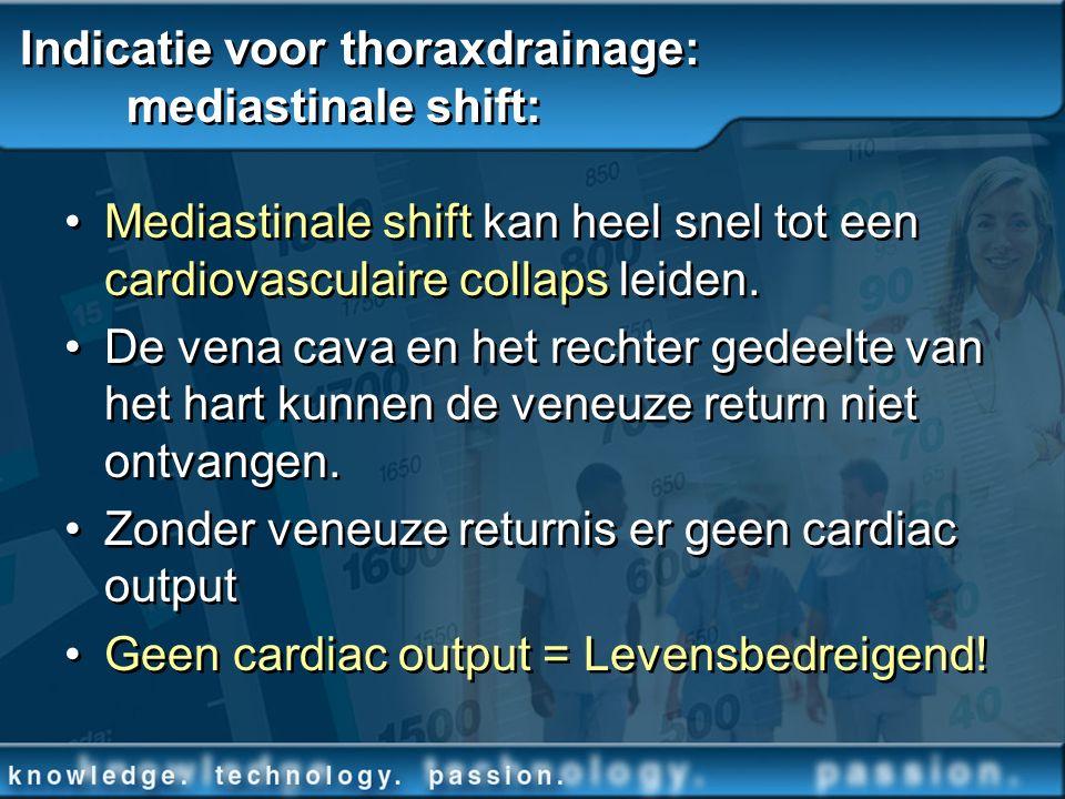 Indicatie voor thoraxdrainage: mediastinale shift: Mediastinale shift kan heel snel tot een cardiovasculaire collaps leiden. De vena cava en het recht