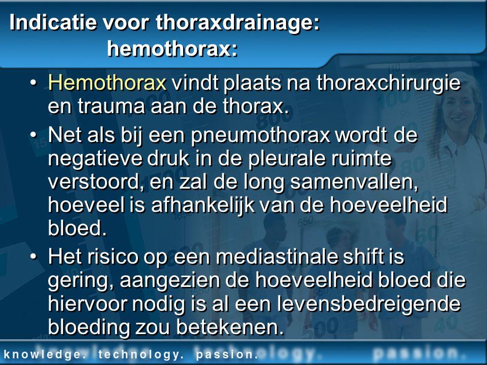 Indicatie voor thoraxdrainage: hemothorax: Hemothorax vindt plaats na thoraxchirurgie en trauma aan de thorax. Net als bij een pneumothorax wordt de n