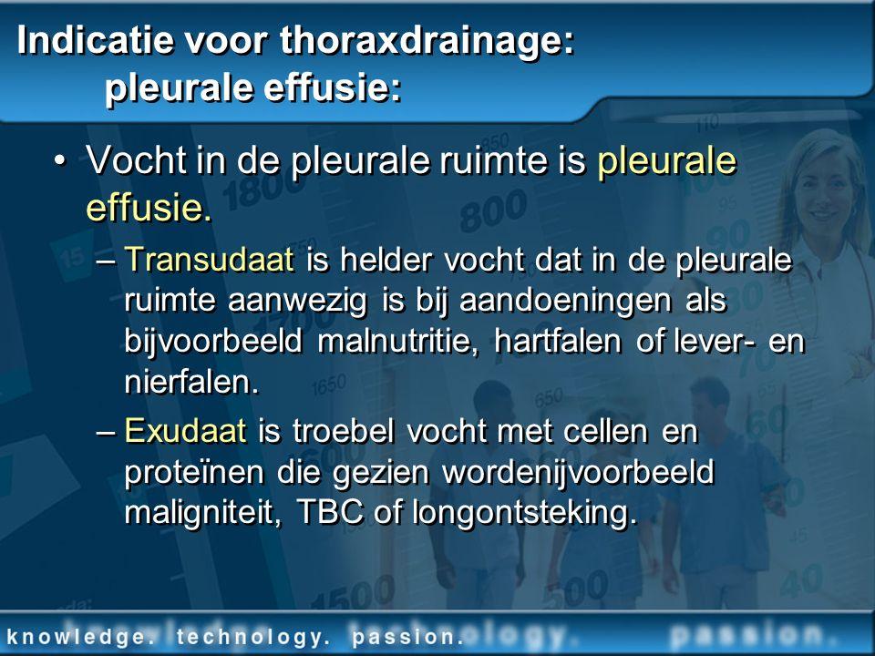 Indicatie voor thoraxdrainage: pleurale effusie: Vocht in de pleurale ruimte is pleurale effusie. –Transudaat is helder vocht dat in de pleurale ruimt