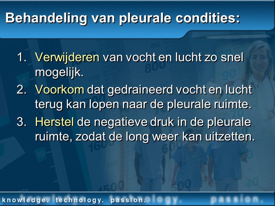 Behandeling van pleurale condities: 1.Verwijderen van vocht en lucht zo snel mogelijk. 2. Voorkom dat gedraineerd vocht en lucht terug kan lopen naar