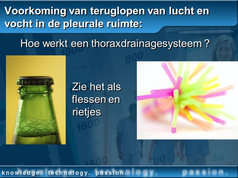 Voorkoming van teruglopen van lucht en vocht in de pleurale ruimte: Hoe werkt een thoraxdrainagesysteem ? Zie het als flessen en rietjes Hoe werkt een