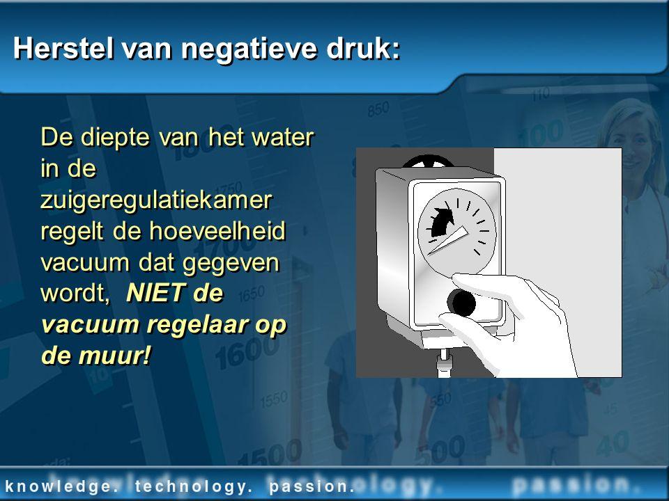 Herstel van negatieve druk: De diepte van het water in de zuigeregulatiekamer regelt de hoeveelheid vacuum dat gegeven wordt, NIET de vacuum regelaar
