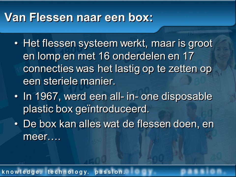 Van Flessen naar een box: Het flessen systeem werkt, maar is groot en lomp en met 16 onderdelen en 17 connecties was het lastig op te zetten op een st
