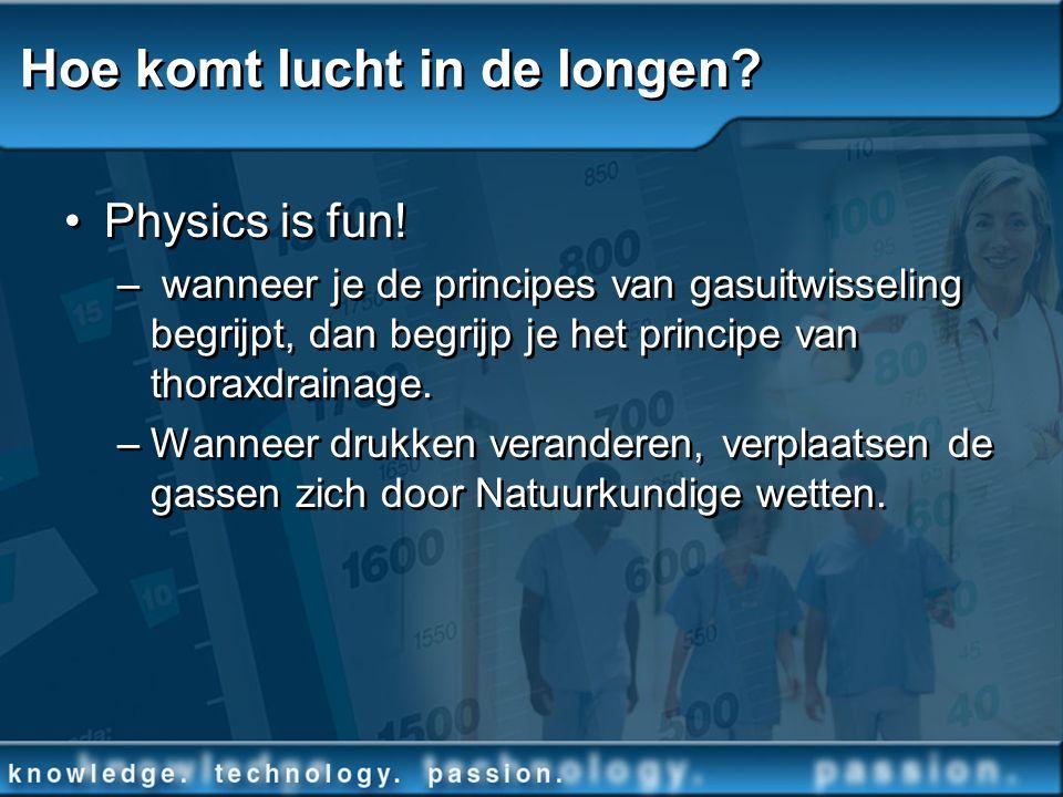 Hoe komt lucht in de longen? Physics is fun! – wanneer je de principes van gasuitwisseling begrijpt, dan begrijp je het principe van thoraxdrainage. –