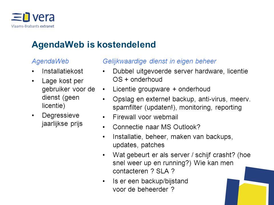 AgendaWeb is kostendelend AgendaWeb Installatiekost Lage kost per gebruiker voor de dienst (geen licentie) Degressieve jaarlijkse prijs Gelijkwaardige dienst in eigen beheer Dubbel uitgevoerde server hardware, licentie OS + onderhoud Licentie groupware + onderhoud Opslag en externe.