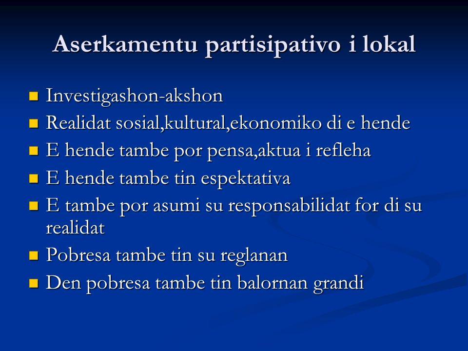 Aserkamentu partisipativo i lokal Investigashon-akshon Investigashon-akshon Realidat sosial,kultural,ekonomiko di e hende Realidat sosial,kultural,eko