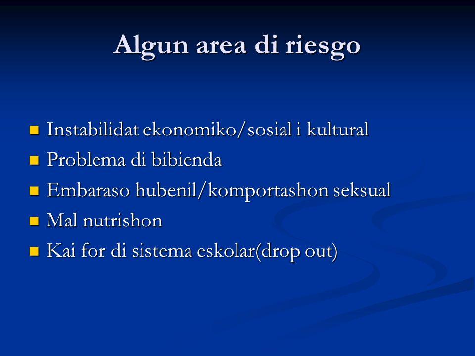 Algun area di riesgo Instabilidat ekonomiko/sosial i kultural Instabilidat ekonomiko/sosial i kultural Problema di bibienda Problema di bibienda Embar