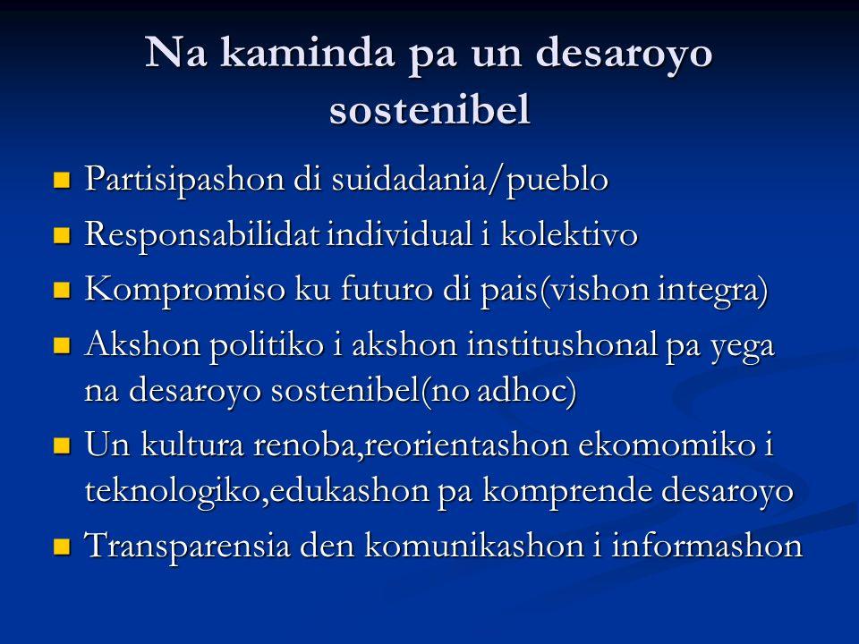 Na kaminda pa un desaroyo sostenibel Partisipashon di suidadania/pueblo Partisipashon di suidadania/pueblo Responsabilidat individual i kolektivo Resp