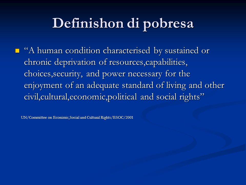 Kategorisashon di pobresa Pobresa ekstremo (miseria) Pobresa ekstremo (miseria) (gebrek aan voedsel,schoon water,huisvesting,werk/inkomen en veiligheid (gebrek aan voedsel,schoon water,huisvesting,werk/inkomen en veiligheid Pobresa relativo (deprivatie van kansen,materiaal en waardigheid) Pobresa relativo (deprivatie van kansen,materiaal en waardigheid) Pobresa hereda (overdracht van armoedestatus van de ene generatie naar de andere) Pobresa hereda (overdracht van armoedestatus van de ene generatie naar de andere) Pobresa repentino (als gevolg van een plotselinge omstandigheid,ramp,verlies) Pobresa repentino (als gevolg van een plotselinge omstandigheid,ramp,verlies)
