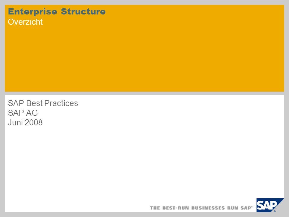 Enterprise Structure Overzicht SAP Best Practices SAP AG Juni 2008