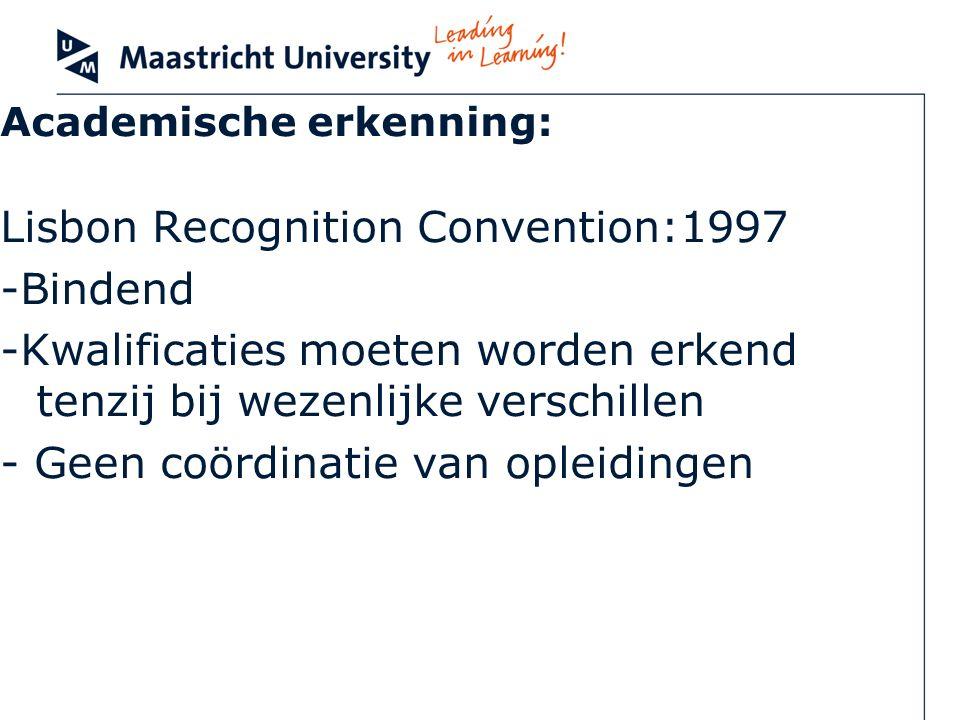 Academische erkenning: Lisbon Recognition Convention:1997 -Bindend -Kwalificaties moeten worden erkend tenzij bij wezenlijke verschillen - Geen coördi