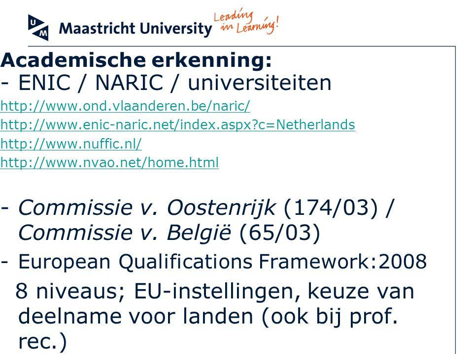 Academische erkenning: -ENIC / NARIC / universiteiten http://www.ond.vlaanderen.be/naric/ http://www.enic-naric.net/index.aspx?c=Netherlands http://ww