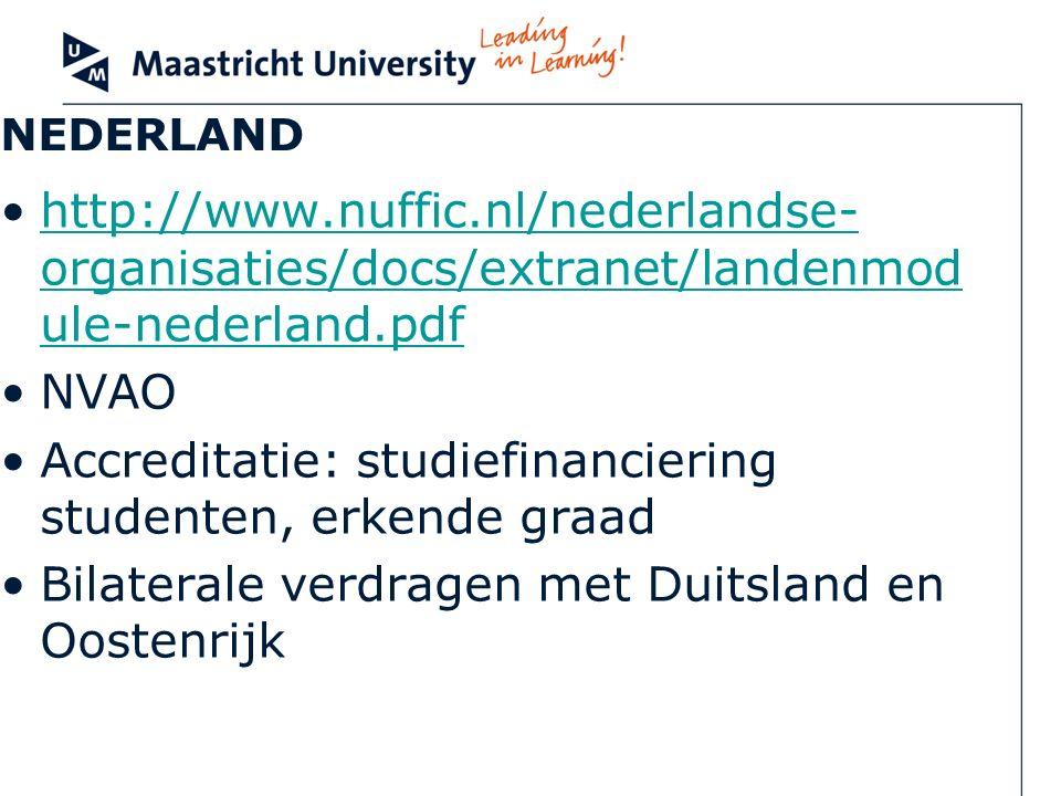 NEDERLAND http://www.nuffic.nl/nederlandse- organisaties/docs/extranet/landenmod ule-nederland.pdfhttp://www.nuffic.nl/nederlandse- organisaties/docs/