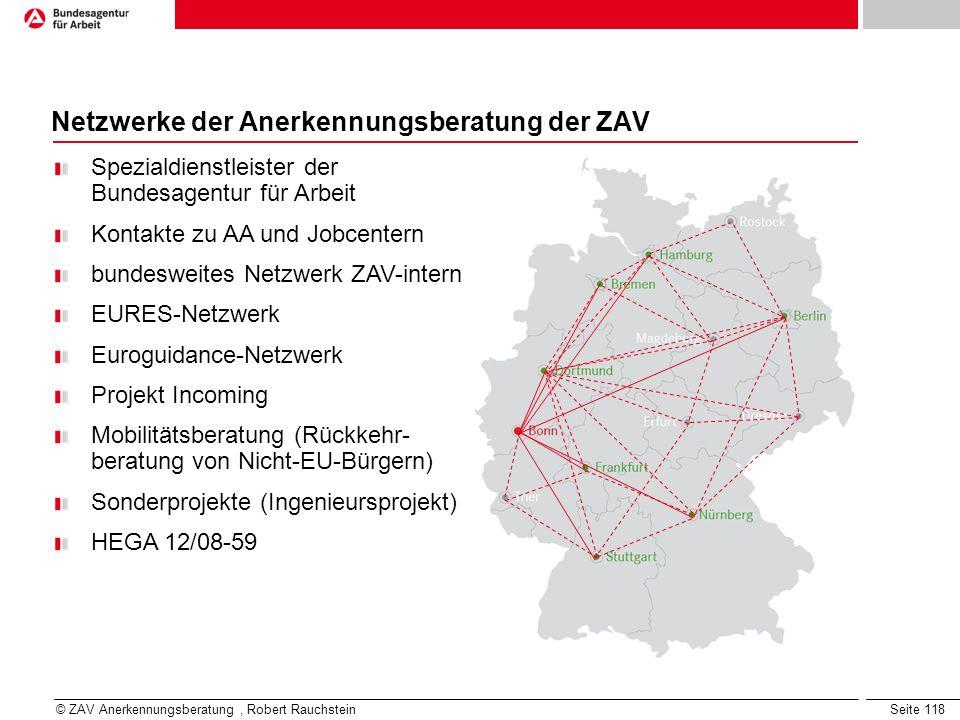 Seite 118 Netzwerke der Anerkennungsberatung der ZAV Spezialdienstleister der Bundesagentur für Arbeit Kontakte zu AA und Jobcentern bundesweites Netz