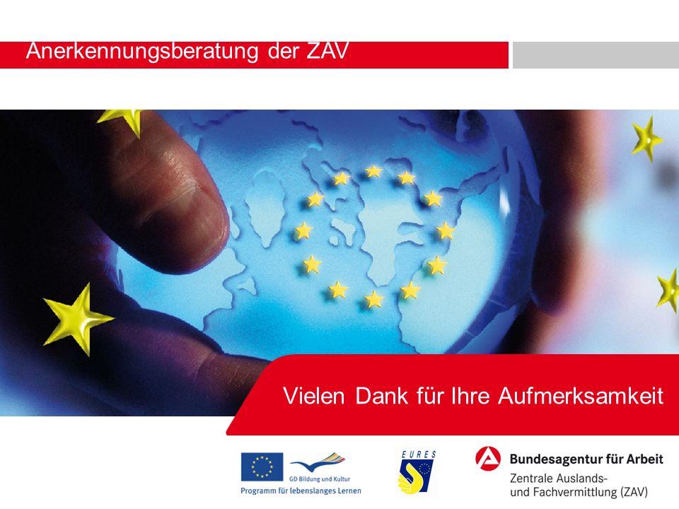 Anerkennungsberatung der ZAV Vielen Dank für Ihre Aufmerksamkeit Robert Rauchstein, 14. – 15.04.2011 in Hamminkeln