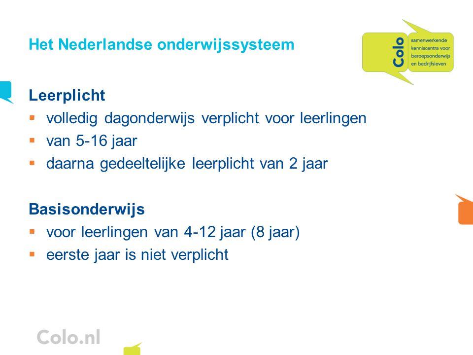 Het Nederlandse onderwijssysteem Leerplicht volledig dagonderwijs verplicht voor leerlingen van 5-16 jaar daarna gedeeltelijke leerplicht van 2 jaar B