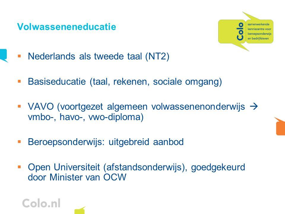Volwasseneneducatie Nederlands als tweede taal (NT2) Basiseducatie (taal, rekenen, sociale omgang) VAVO (voortgezet algemeen volwassenenonderwijs vmbo