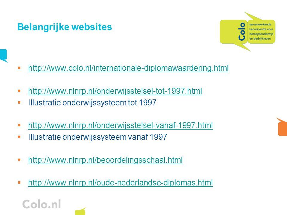 Belangrijke websites http://www.colo.nl/internationale-diplomawaardering.html http://www.nlnrp.nl/onderwijsstelsel-tot-1997.html Illustratie onderwijs