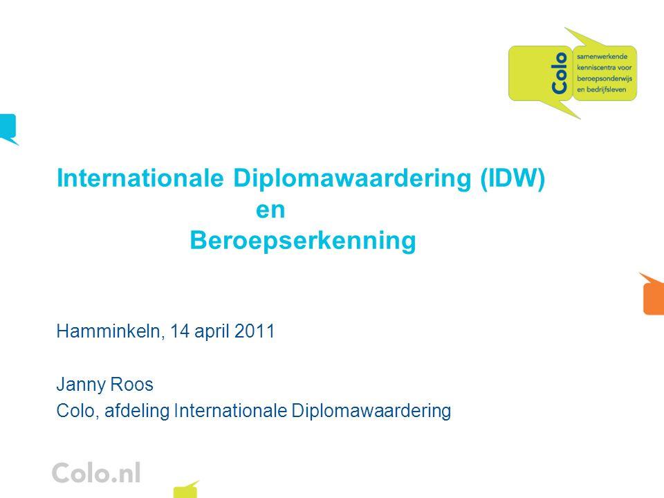 Hamminkeln, 14 april 2011 Janny Roos Colo, afdeling Internationale Diplomawaardering Internationale Diplomawaardering (IDW) en Beroepserkenning