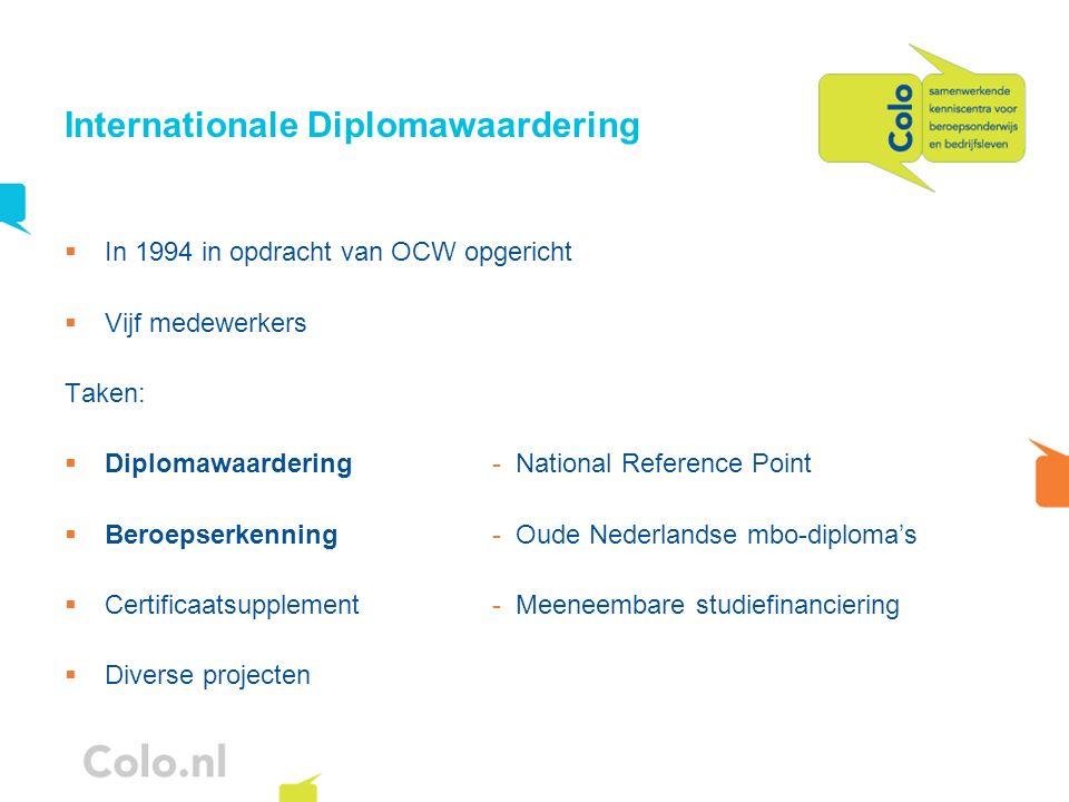 Internationale Diplomawaardering In 1994 in opdracht van OCW opgericht Vijf medewerkers Taken: Diplomawaardering- National Reference Point Beroepserke